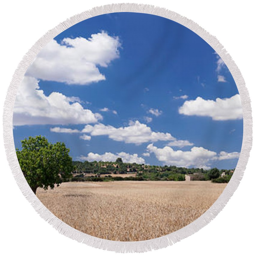Photography Round Beach Towel featuring the photograph Cornfield And Finca Near Sineu by Panoramic Images