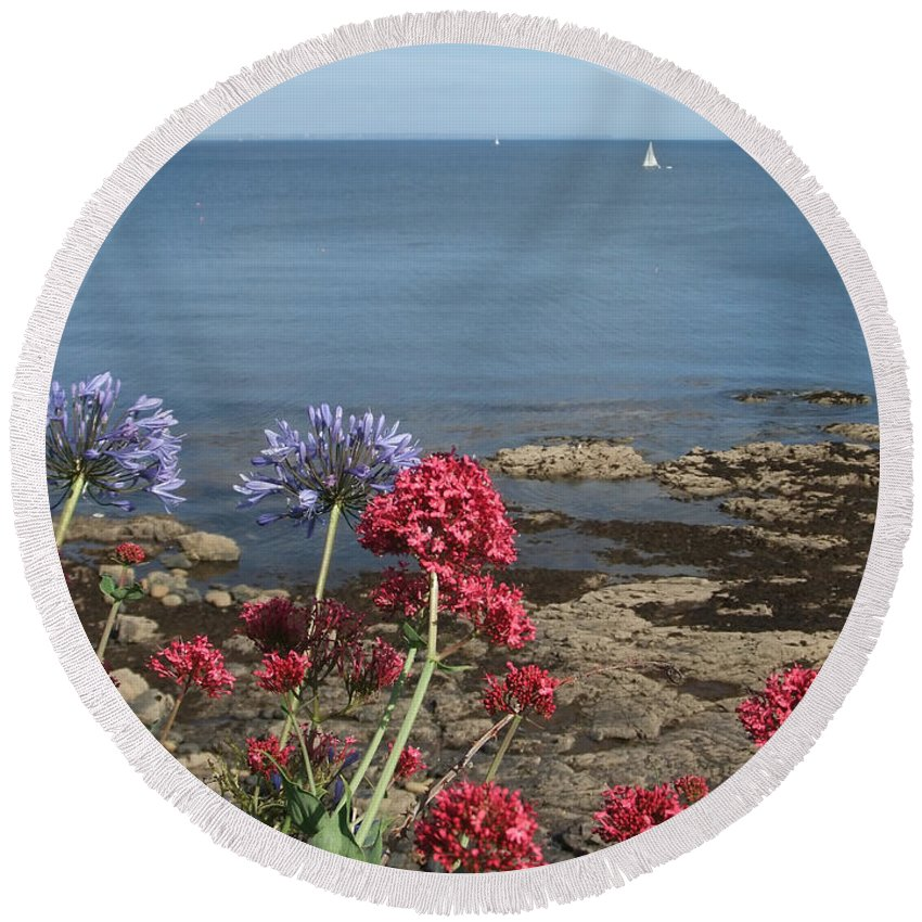 Calm Round Beach Towel featuring the photograph Cornwall Newlyn Coast One by Coventry Wildeheart