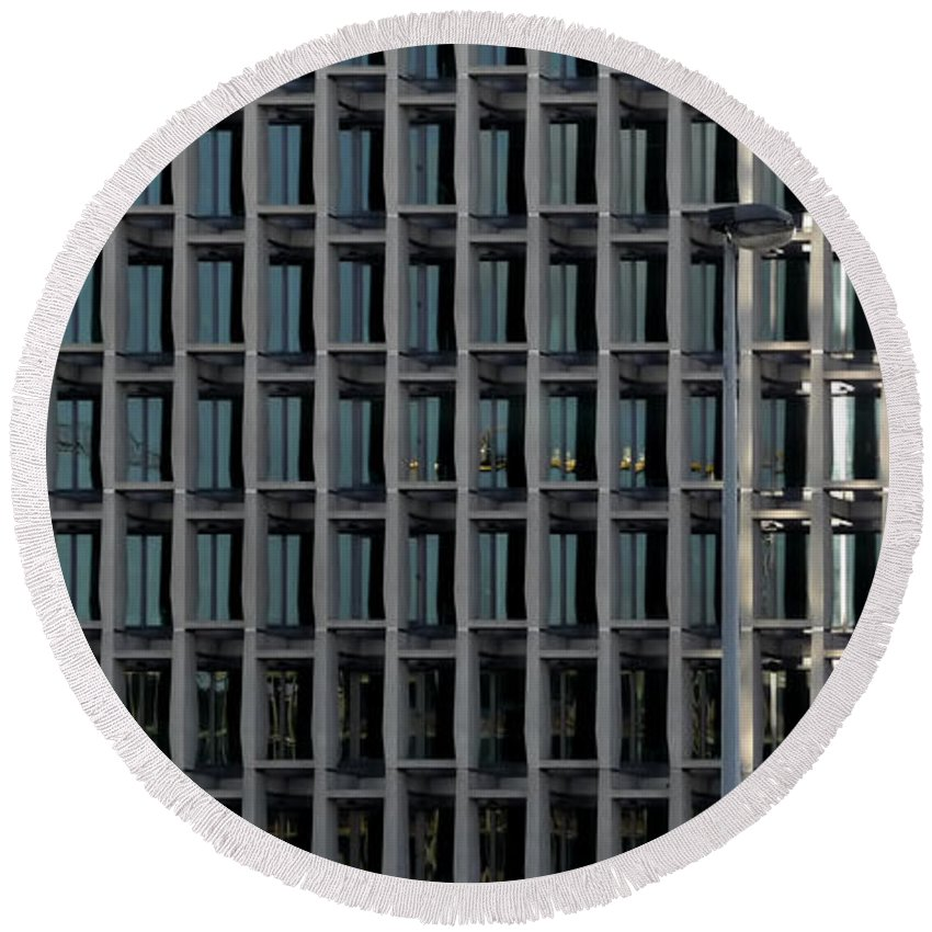 Abstract Round Beach Towel featuring the photograph Corporate Reflection by Zoran Berdjan
