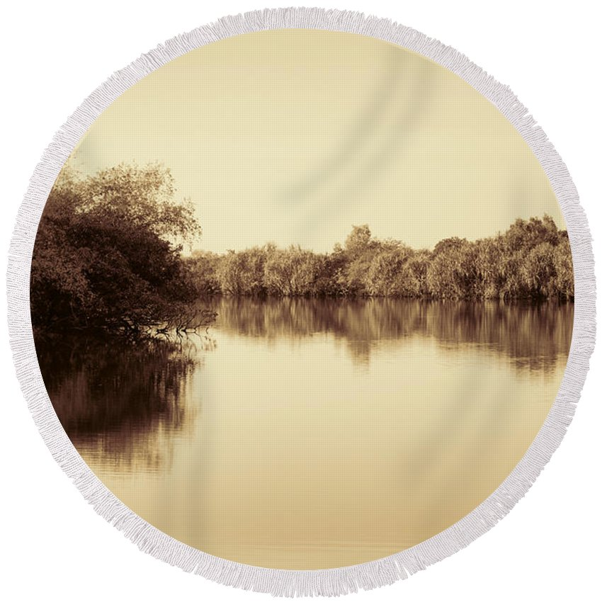 Sepia Round Beach Towel featuring the photograph Corroboree Billabong In Sepia by Douglas Barnard
