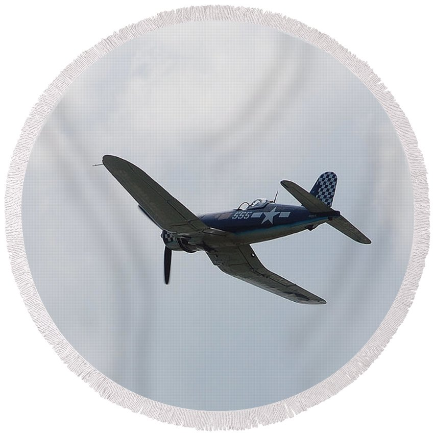Aviation Round Beach Towel featuring the photograph Corsair by John Schneider