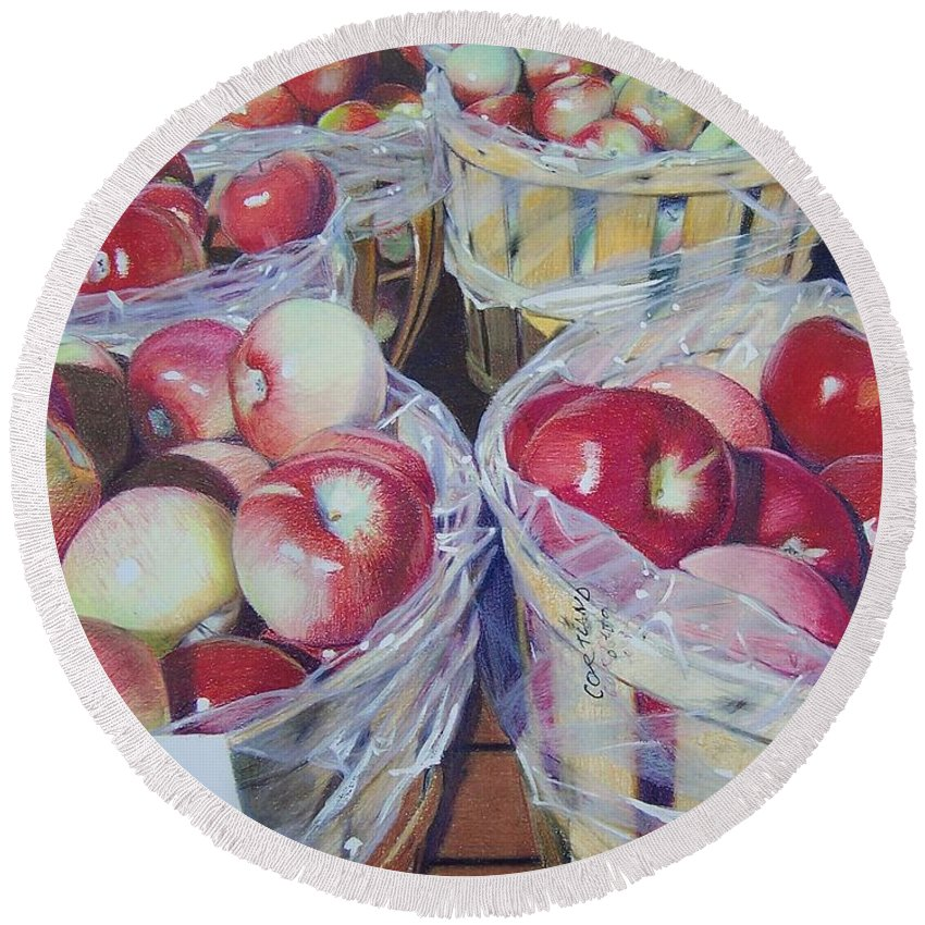 Apple Round Beach Towel featuring the mixed media Cortland Apples by Constance Drescher