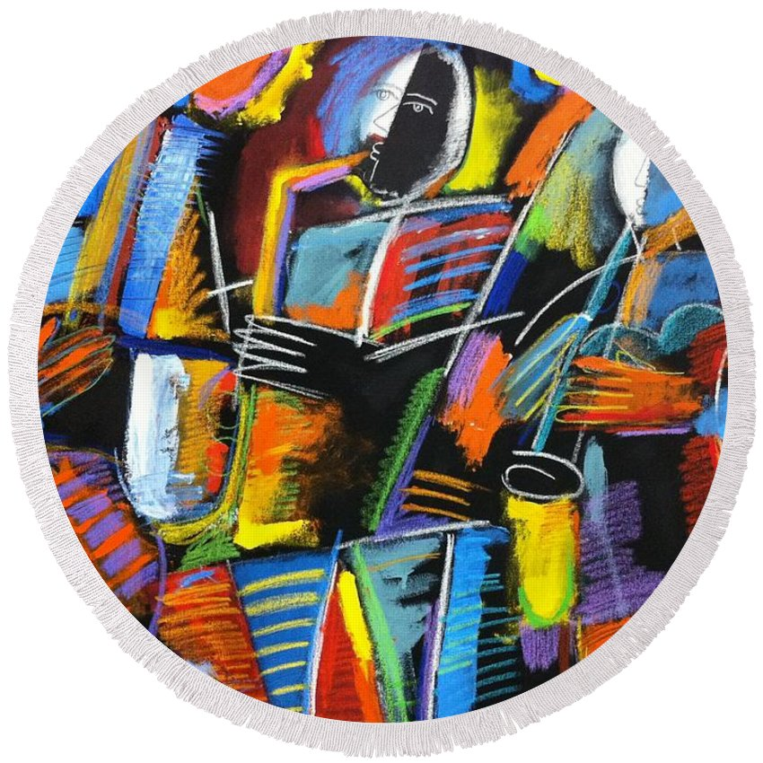 Abstract Jazz Round Beach Towel featuring the painting Cosmic Birth Of Jazz by Gerry High