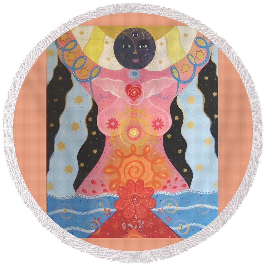 Goddess Round Beach Towel featuring the painting Cosmic Carnival I V Aka Creation by Helena Tiainen
