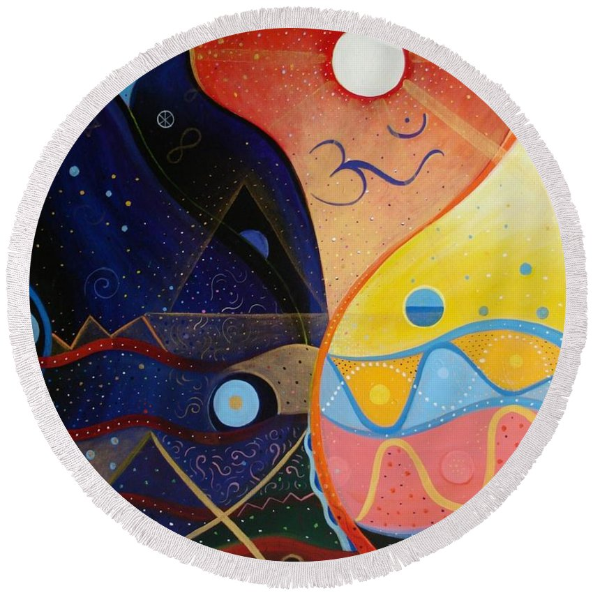 Value Round Beach Towel featuring the painting Cosmic Carnival Vlll Aka Sacred And Profane by Helena Tiainen