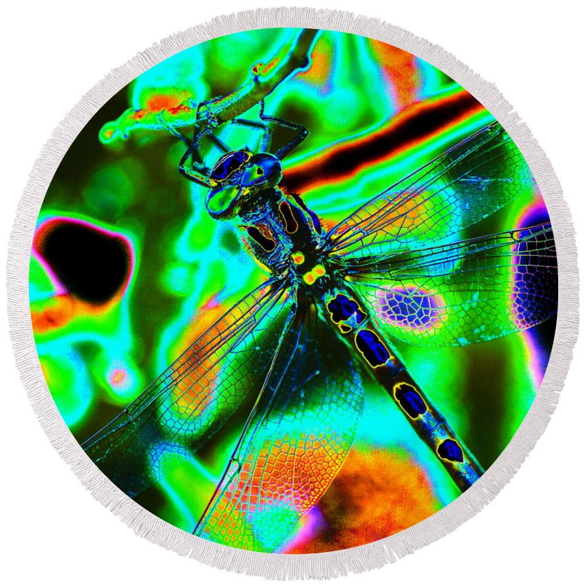Dragonflies Round Beach Towel featuring the photograph Cosmic Dragonfly Art 1 by Ben Upham III