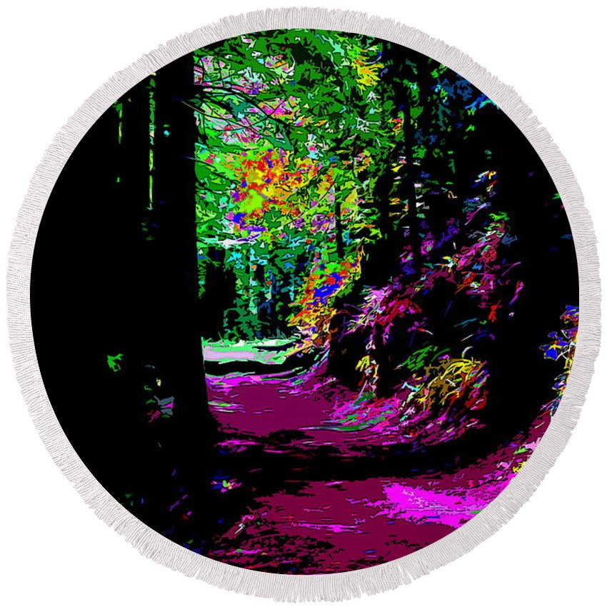 Tamalpais Round Beach Towel featuring the photograph Cosmic Energy Of A Redwood Forest On Mt Tamalpais by Ben Upham III