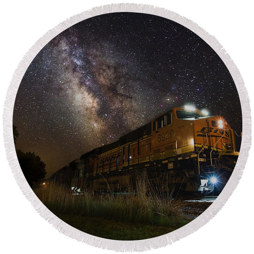 #blended #cosmic #cosmos #east #galactic #galaxy #milky Way #milkywayscape #multiple Exposures #homegroen #photoshop #art #astrophotographer #astrophotography #best #blended #cosmic #cosmos #east #galactic #galaxy #milky Way #milkywayscape #multiple Exposures #night #night Train #railroad #sioux Falls #sky #south Dakota #stars #starscape #top #tracks#night #night Train #railroad #sioux Falls #sky #south Dakota #stars #starscape #top #tracks Round Beach Towel featuring the photograph Cosmic Railroad by Aaron J Groen