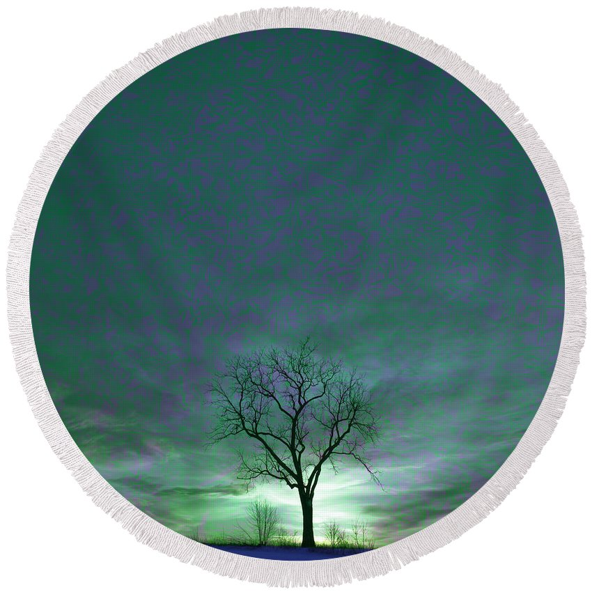 Tranquil Scene Round Beach Towel featuring the photograph Cosmic Sky Winter Tree by John Stephens