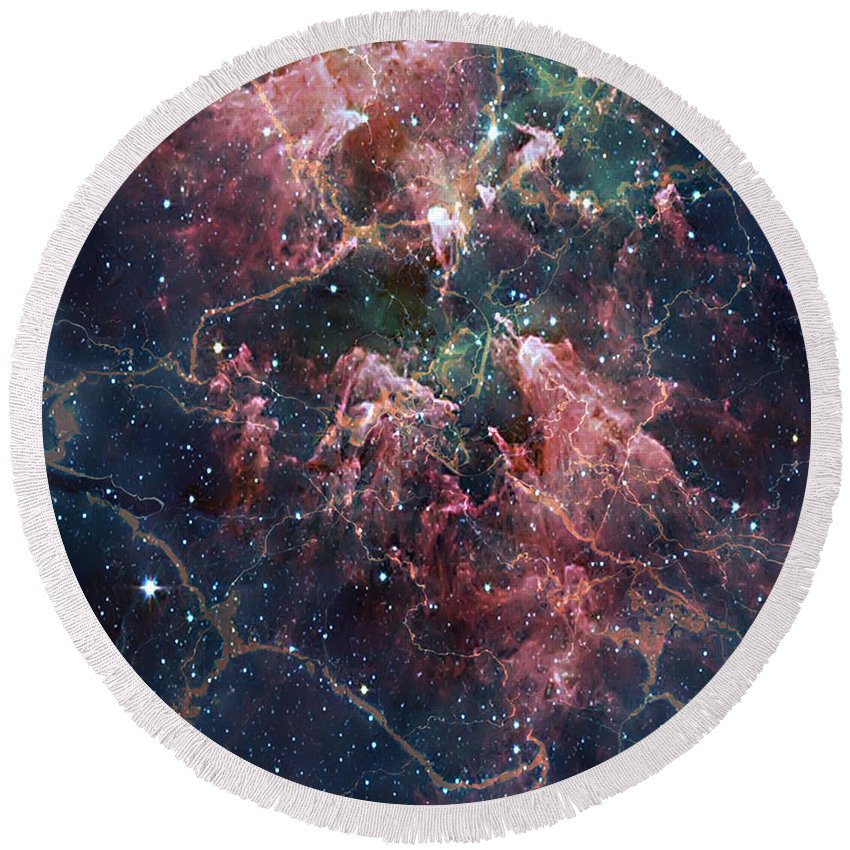 2d Round Beach Towel featuring the digital art Cosmic Soup by Brian Wallace