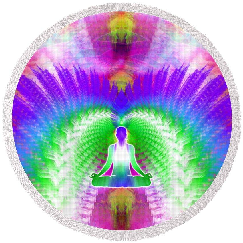 Cosmic Spiral Ascension Round Beach Towel featuring the digital art Cosmic Spiral Ascension 13 by Derek Gedney