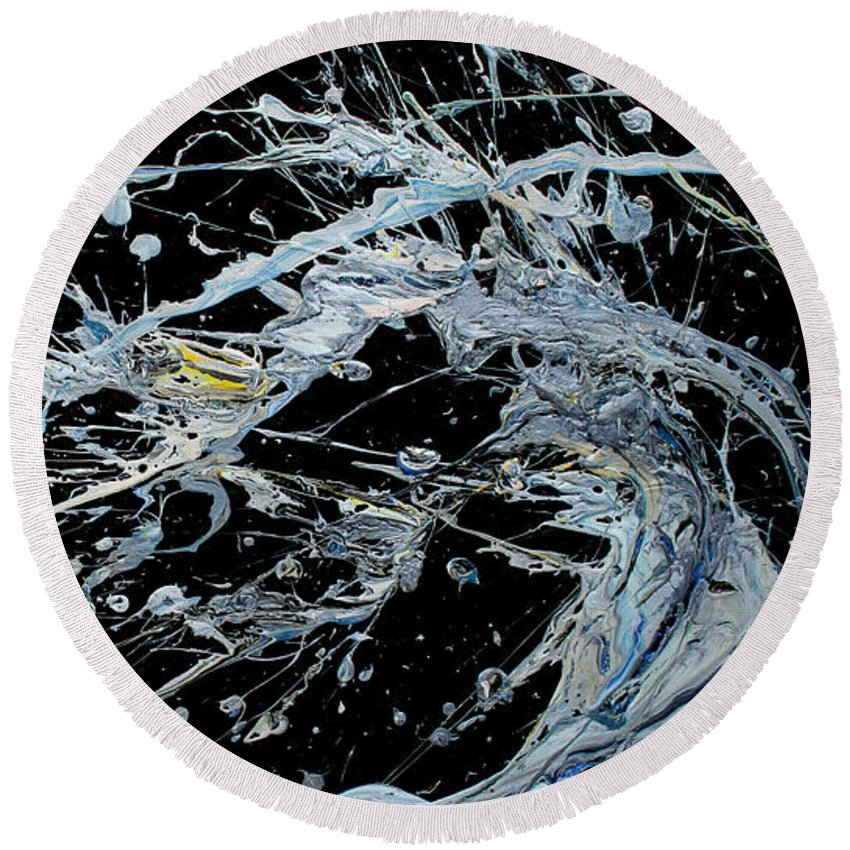 Decorator Art Round Beach Towel featuring the painting Cosmic Wave by Ric Bascobert