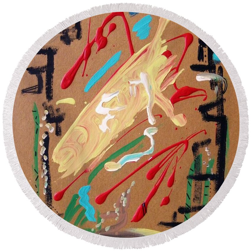 Abstract Round Beach Towel featuring the painting Cosmopolitan by Mary Carol Williams
