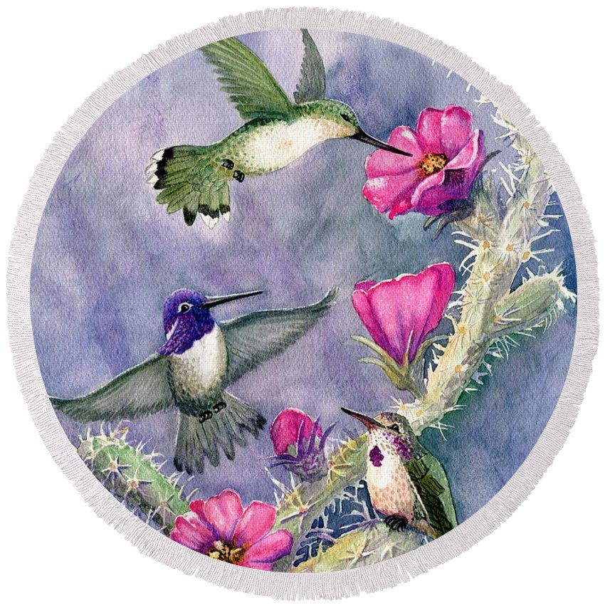 Hummingbirds Round Beach Towel featuring the painting Costa Hummingbird Family by Marilyn Smith