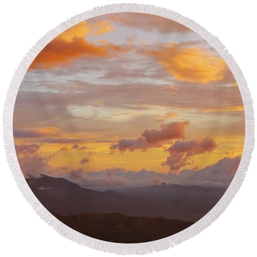 Atenas Costa Rica Sky Skies Sunset Sunsets Cloud Clouds Landscape Landscapes Round Beach Towel featuring the photograph Costa Rica Evening Sky by Bob Phillips