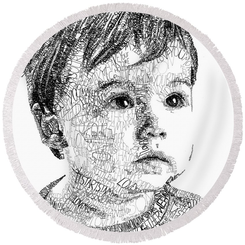 Portrait Round Beach Towel featuring the drawing Costin Boy by Michael Volpicelli