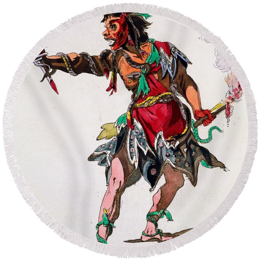 Costume Round Beach Towel featuring the drawing Costume Design For A Fury by French School