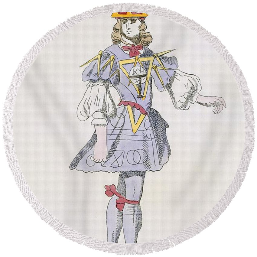 Baroque Round Beach Towel featuring the drawing Costume Design For Geometry In A 17th by French School