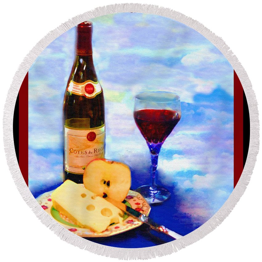 Wine Round Beach Towel featuring the photograph Cotes Du Rhone by Madeline Ellis