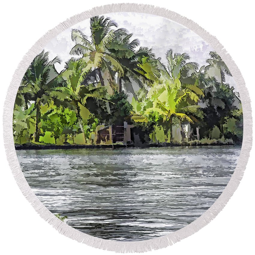 Alleppey Round Beach Towel featuring the digital art Cottage In The Midst Of Greenery by Ashish Agarwal