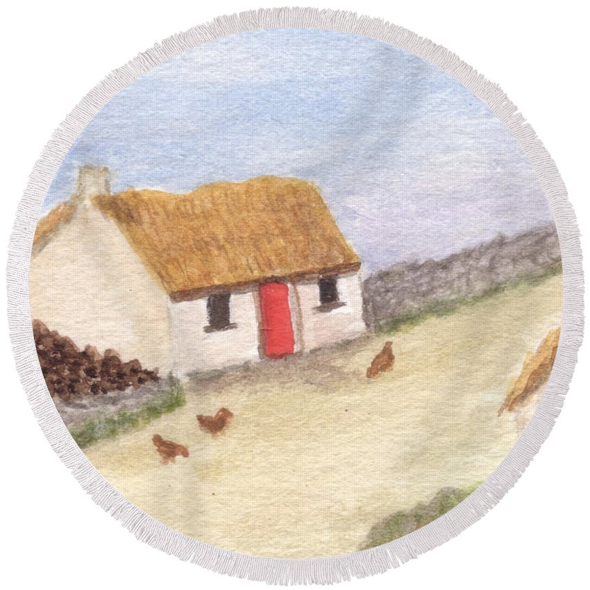 Cottage Round Beach Towel featuring the painting Cottage In The West by Tis Art