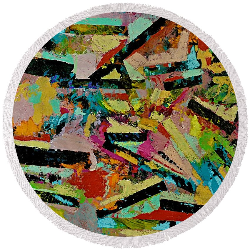Landscape Round Beach Towel featuring the painting Cotton Crystal by Allan P Friedlander