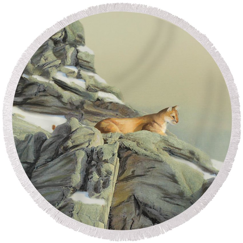 Cougar Round Beach Towel featuring the painting Cougar Perch by Jane Girardot