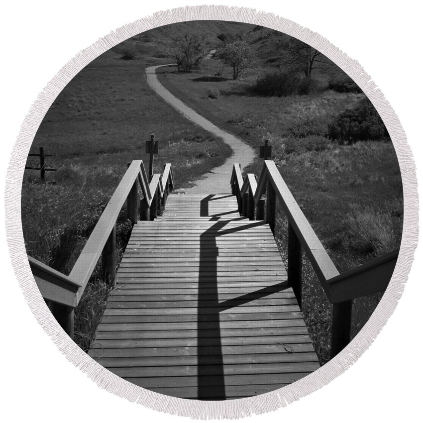 Stairwell Round Beach Towel featuring the photograph Coulee Stairs by Donald S Hall