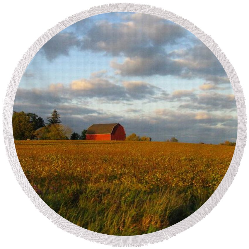 Landscape Round Beach Towel featuring the photograph Country Backroad by Rhonda Barrett