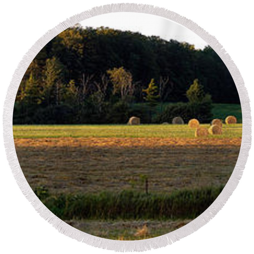Panorama Round Beach Towel featuring the photograph Country Bales by Doug Gibbons