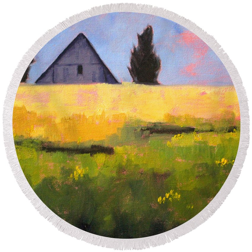 Oregon Landscape Painting Round Beach Towel featuring the painting Country Barn by Nancy Merkle