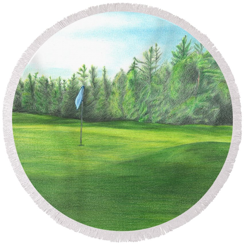 Golfing Round Beach Towel featuring the drawing Country Club by Troy Levesque