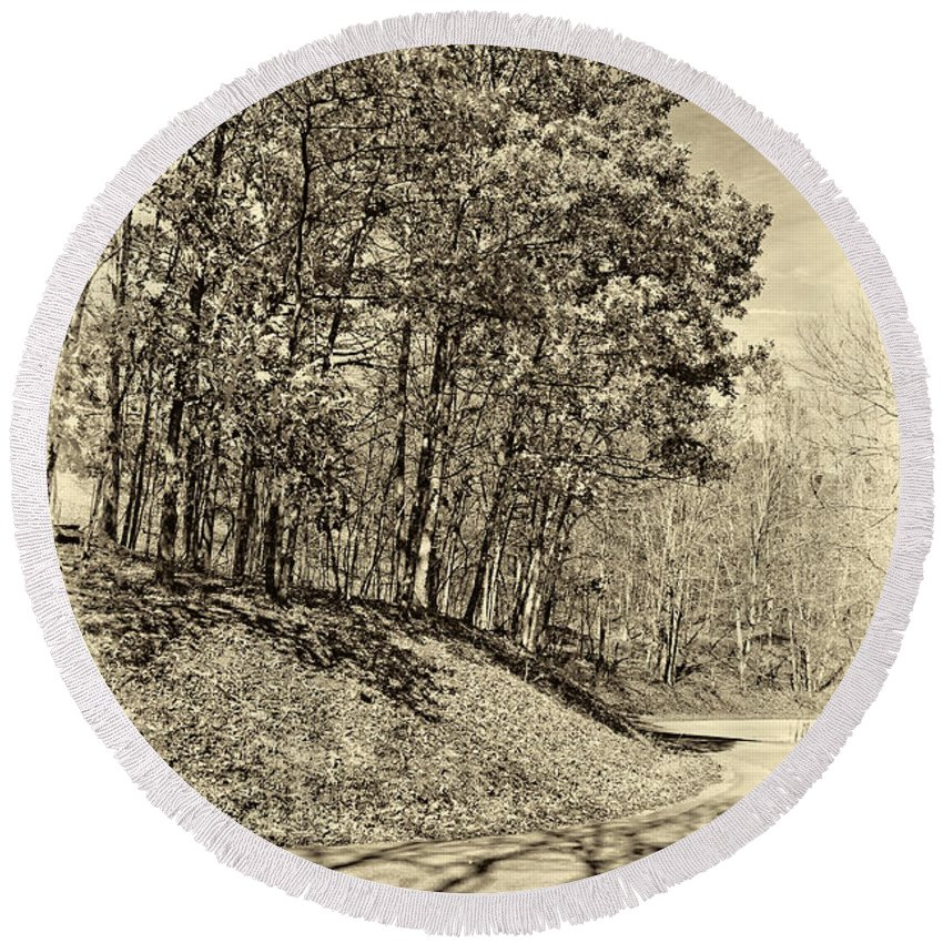 West Virginia Round Beach Towel featuring the photograph Country Curves And Vultures Sepia     by Steve Harrington