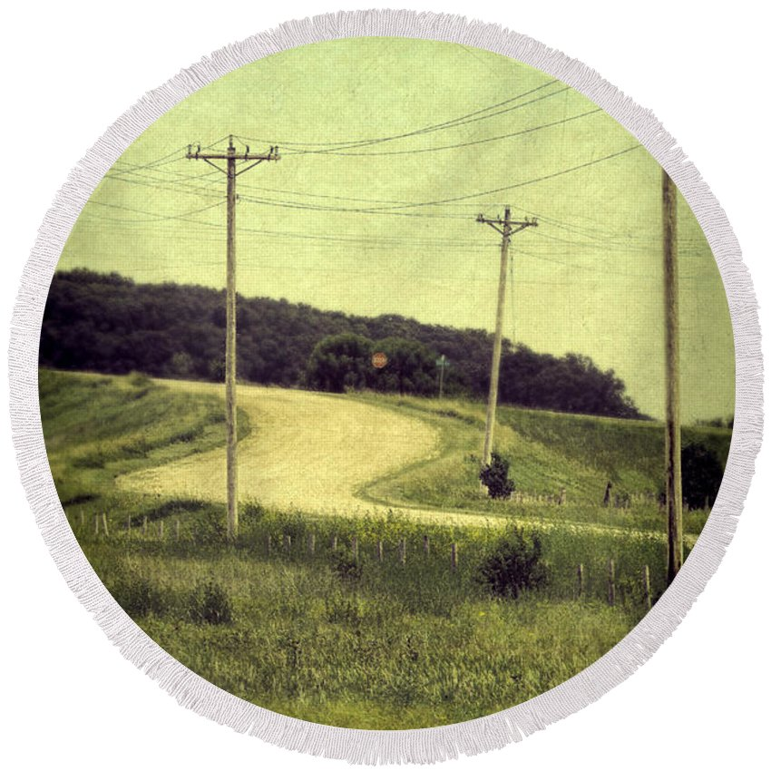 Road Round Beach Towel featuring the photograph Country Dirt Road And Telephone Poles by Jill Battaglia