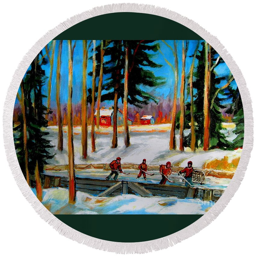 Country Hockey Rink Round Beach Towel featuring the painting Country Hockey Rink by Carole Spandau