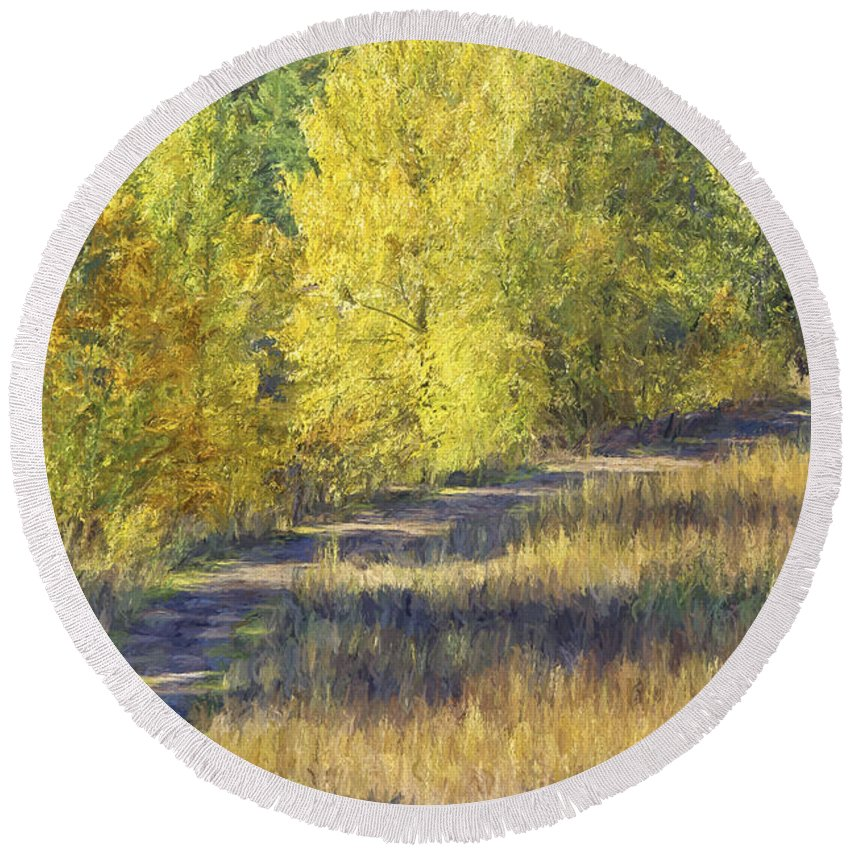 Country Lane Round Beach Towel featuring the photograph Country Lane Digital Oil Painting by Sharon Talson