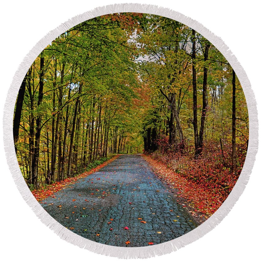 Autumn Round Beach Towel featuring the photograph Country Lane In Autumn by Mark Orr