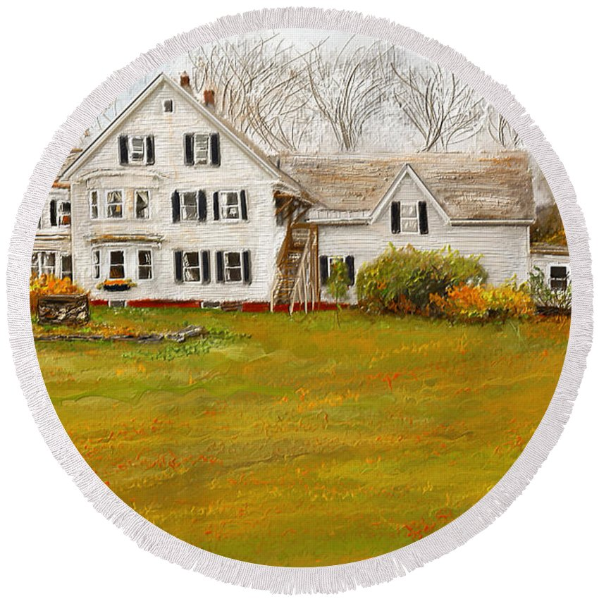 Farmhouse At Robinson Farm Round Beach Towel featuring the painting Country Moments-farmhouse In Woodstock Vermont by Lourry Legarde