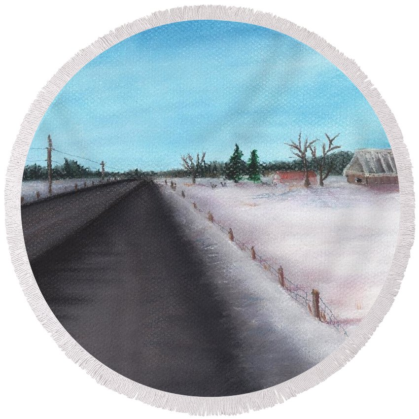 Calm Round Beach Towel featuring the painting Country Road by Anastasiya Malakhova
