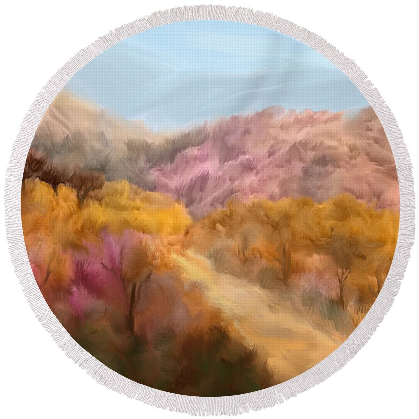 Pink Round Beach Towel featuring the painting Country Road by Kume Bryant