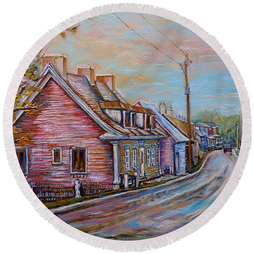 Ile D'orleans Round Beach Towel featuring the painting Country Road Pink House by Carole Spandau