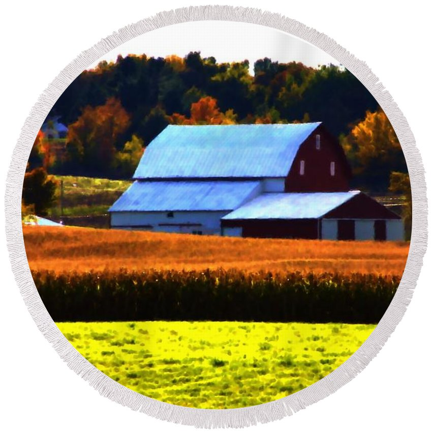 Barn Round Beach Towel featuring the painting Country Side by Bill Richards