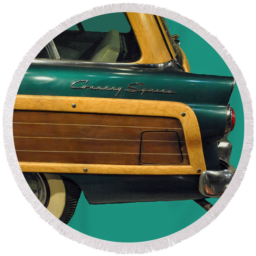 Ford Round Beach Towel featuring the photograph Country Squire Wagon by Jost Houk