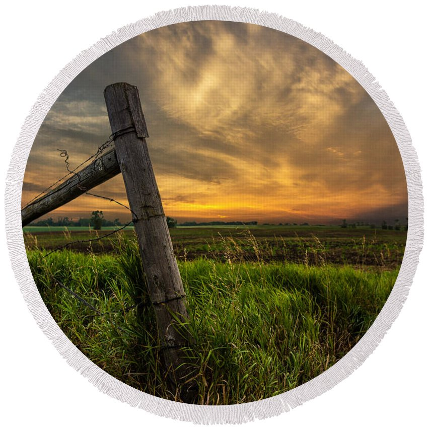 Marshall Round Beach Towel featuring the photograph Country Sunrise by Aaron J Groen