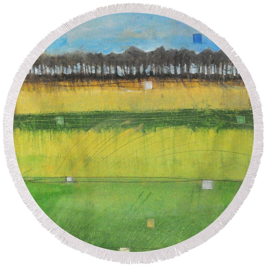 Landscape Round Beach Towel featuring the painting County S by Tim Nyberg