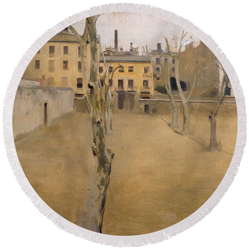 Ramon Casas Round Beach Towel featuring the painting Courtyard Of The Old Barcelona Prison. Courtyard Of The Lambs by Ramon Casas