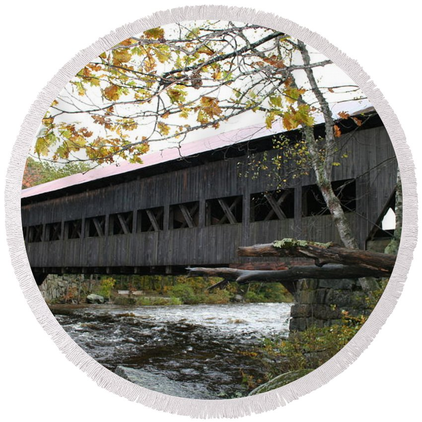 Covered Bridge Round Beach Towel featuring the photograph Covered Bridge Albany by Christiane Schulze Art And Photography