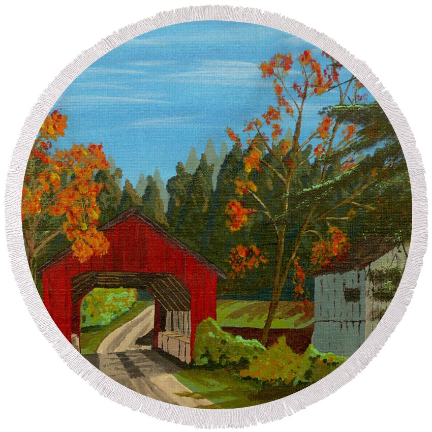 Path Round Beach Towel featuring the painting Covered Bridge by Anthony Dunphy