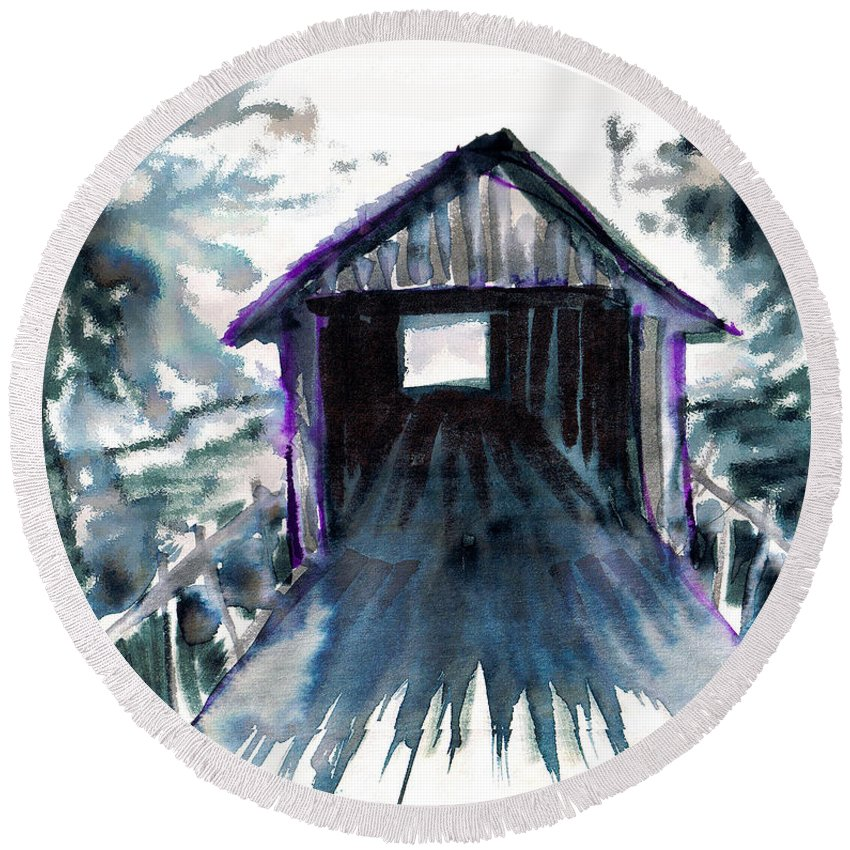 Old South Round Beach Towel featuring the digital art Covered Bridge by Seth Weaver