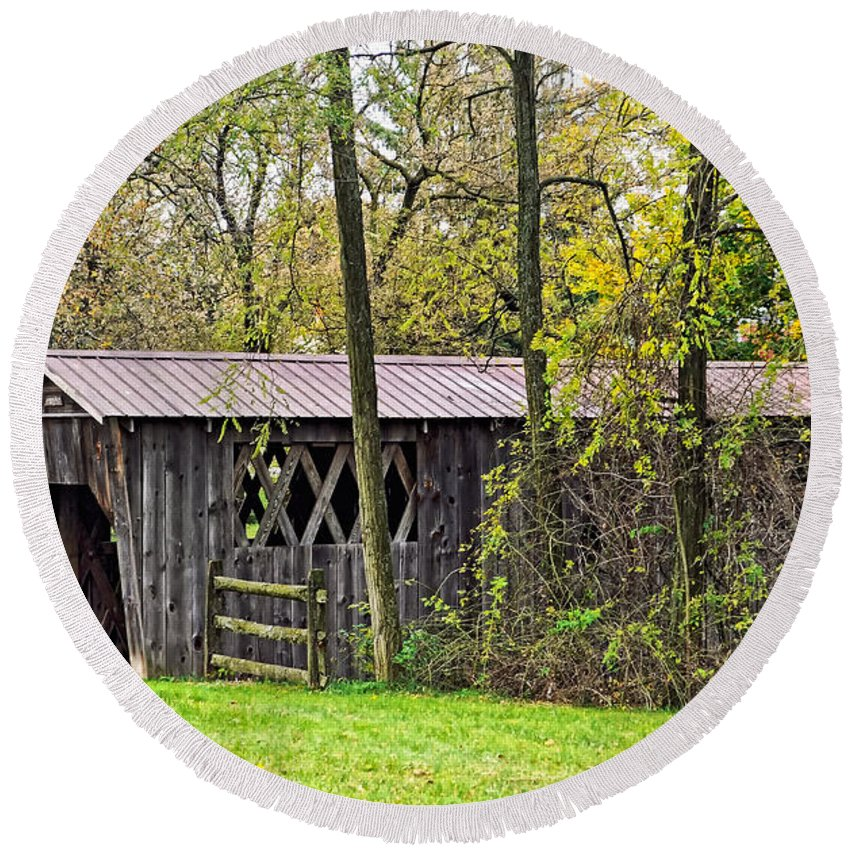 Covered Bridge Round Beach Towel featuring the photograph Covered Bridge by Steve Harrington
